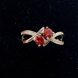 Fragrant Jewels Red Silver Ring Size 8
